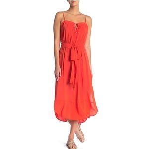 NWT Vix Orange Grace Midi Dress Sz Medium